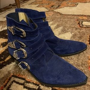 Toga Pulla rare blue suede four buckle boot
